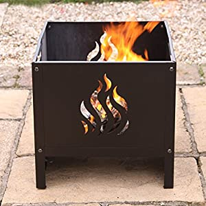 Oban Square Steel Flame Patterned Fire Pit - Medium from primrose.co.uk