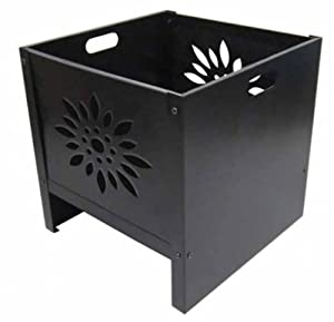 Oban Square Steel Flower Patterned Fire Pit - Medium by primrose.co.uk