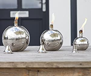 Oil Torch Garden - Round Stainless Steel Ball - Table Or Patio Oil Torch Lantern - Wedding - Small - 13 X 13 X 15cm from Za Za Homes