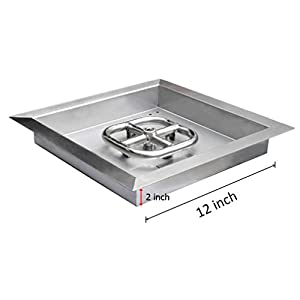 Onlyfire Square Stainless Steel Drop-in Fire Pit Burner Ring And Pan Assembly12-inch from Onlyfire
