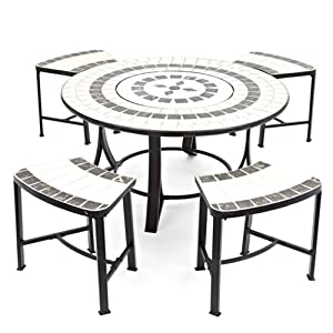 Orion Tile Top Table With Fire Pit Bbq Grill Spark Guard Poker 4 Seats With Cushions Weather Cover