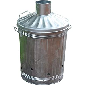 Ouse Valley Large Garden Fire Bin Galvanised Zinc Incinerator 3 Feet Carry Handles Burn by Ouse Valley