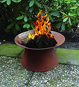 Outdoor Fire Pit - Rust Portable Bbq - Garden Firebowl Round Base by Brundle