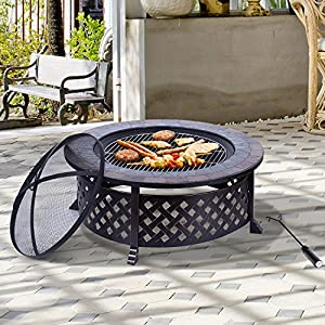 Outdoor Garden Metal Firepit Fire Pit Natural Slate Table Bbq Grid Round Brazier Patio Heater Stove by Manufactured for MHStar