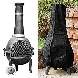 Outdoor Patio Chimenea Cover Waterproof Black Garden Heater Rain Sun Uv Protector 12m High by Librao