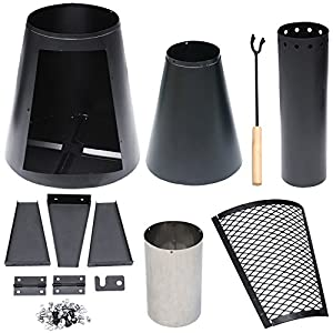 Outdoortips 120cm Outdoor Garden Metal Chimenea Heater Chimney Log Wood Burner Fire Pit by Outdoortips