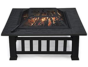 Outdoortips Garden Metal Fire Pit Brazier Square Table Patio Heater Stove With Raindust Protective Cover from Outdoortips