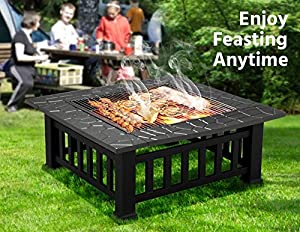 Outdoortips Outdoor Garden Fire Pit Patio Heater Camping Log Charcoal Stove Brazier With Raindust Protective Cover from Outdoortips