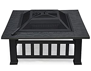 Outdoortips Outdoor Sunny Garden Metal Fire Pit Brazier Cover Backyard Patio Square Table by Outdoortips