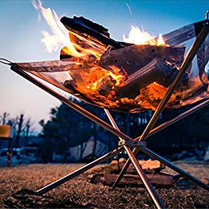 Outdot Foldable Firewood Burning Mesh Stand Burning Furnace Stainless Steel Grill Fireplace Fire Pit Outdoor Carry Bag42 42 32cm from OUTDOT