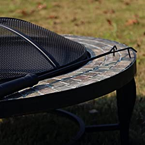 Outour Heavy 34-inch Round Fire Pit Fire Table Patio Heater For Outdoor Patio Backyard Natural Slate Natural Stone Mosaic Top Wood Burning Firepit Table by OUTOUR