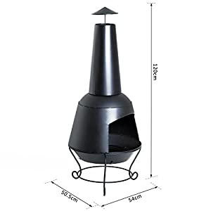 Outsunny Fire Pit Outdoor Garden Brazier Patio Heater Charcoal Burner Metal Chiminea Black by Sold by MHSTAR
