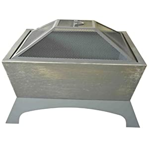 Outsunny Garden Patio Fire Pit Decking Heater Metal Firepit Black Square Brazier from Manufactured for MHStar