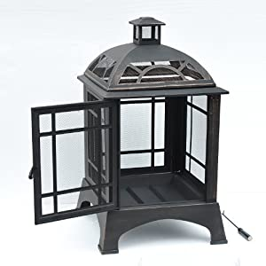 outsunny metal pit stove heater for outdoor garden