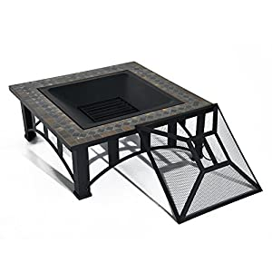 Outsunny Metal Outdoor Firepit Log Wood Burning Mosaic Square Table Heater Garden Brazier W Mesh Screen Poker by Sold by MHSTAR