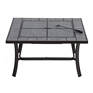 Outsunny Outdoor Garden Fire Pit Brazier Firepit Square Table Patio Heater Stove carry Bay Grey by manufactured for Mhstar