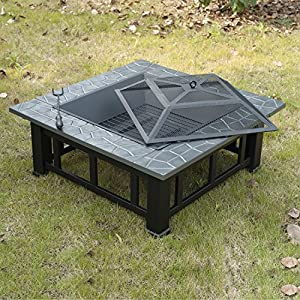 Outsunny Outdoor Garden Mental Firepit Fire Pit Brazier Square Table Patio Heater Stove With Waterproof Cover from sold by mhstar