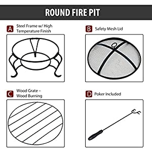 Outsunny Outdoor Metal Fire Pit Round Firepit Wood Burning Heater Mesh Lid Garden Stove Patio Brazier W Poker Dia56cm by Sold by MHSTAR