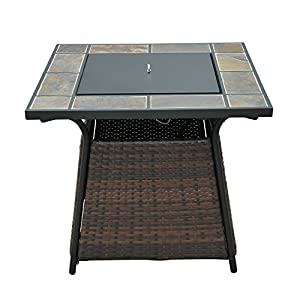 Outsunny Rattan Fire Pit Gas Burner Patio Heater Square W Fire Control Panel And Lava Rocks from Sold By MHSTAR