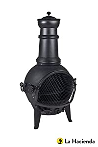 Oxford Barbecues 100 Black Cast Iron Chiminea Chimenea 85cm High With Swing Out Grill