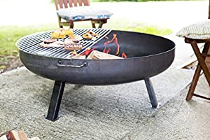 Oxford Barbecues - 56248 Large 100cm Diameter Industrial Firepit With Bbq Grill from La Hacienda Ltd