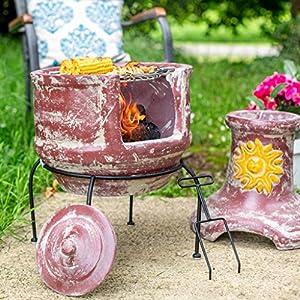 Oxford Barbecues Aurora Clay Chiminea With Bbq Grill And Pizza Stone by La Hacienda Ltd