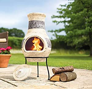 Oxford Barbecues Radley Cream With Grey Detail Clay Chiminea Patio Heater by La Hacienda