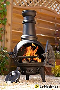 Oxford Leisure Black Cast Ironsteel Mix Chiminea Chimenea 85cm High With Swing Out Grill