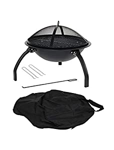 Oxford Leisure Portable Firebowl With Folding Legs Bbq Grill And Carry Bag