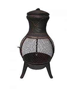 Palma Cast Iron Chimenea In Black 73cm Garden Firepit Wood Burner Heater by Cambs. Valley Ltd