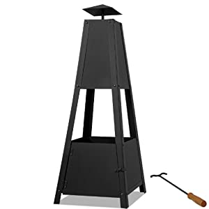 Patio Heater Pyramide Fireplace Charcoal Wood Burning Garden Heating Fire Pit Chiminea