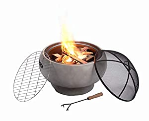Peaktop Outdoor Round Concrete Wood Burning Fire Pit With Charcoal Grill Bbq Grill And Spark Screen With Poker by Peaktop