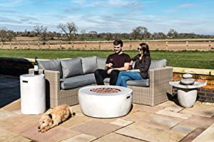 Peaktop Outdoor Round Stone Propane Gas Fire Pit With Cover And Lava Rocks by Peaktop