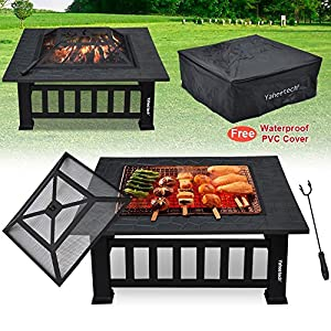Popamazing Outdoor Fire Pit Garden Metal Firepit Brazier Square Table Patio Heater Stove from Popamazing_128