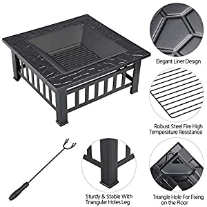 Popamazing Outdoor Fire Pit With Cover Backyard Heater Patio Garden Metal Brazier Square Stove from Popamazing
