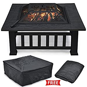 Popamazing Outdoor Garden Fire Pit Firepit Brazier Square Stove Patio Heater by Popamazing