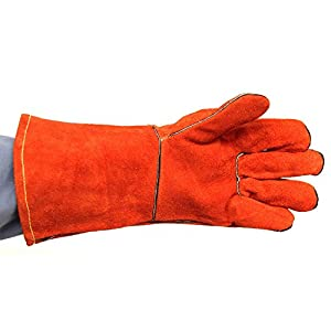 Powcog Supreme Heat Resistant Protective Leather Gloves In Red Perfect For Log Wood Burners Outdoor Fire Pits Barbecues And Bonfires from POWCOG
