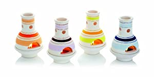 Premier Ba092487 Assorted Striped Terracotta Chiminea Candle Holder Set 4 Pieces by Premier Decorations Limited