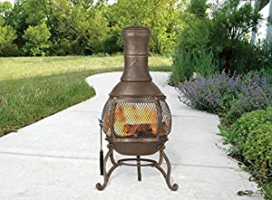 Premium Range Large Bronze 89cm Large Open Bowl Mesh Cast Iron Chiminea Patio Heater Black Bronze by FunkyBuys
