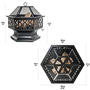 Prime Selection Products Outdoor Fire Pit For Garden And Patio Large Hexagonal Fire Bowl Includes Spark Guard Poker And Protective Cover Black Bronze 61 Cm Width 65 Cm High from Prime Selection Products