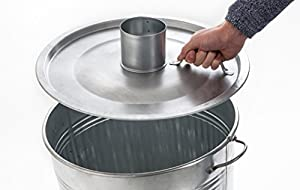 Profit Garden Fire Incinerator For Garden Waste Control Quick Burn Galvanised Steel Sheet Surface Protection With Feet Mantel Cover Air Supply Air Vents-90litres Light Weight Diameter Approx 45cm Height Approx 70cm With Handles Made In Europe by Profit Ga