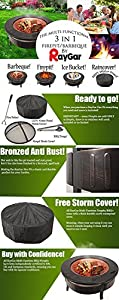 Raygar 3 In 1 Round Fire Pit Bbq Ice Pit Patio Heater Stove Brazier Metal Outdoor Garden Firepit Protective Cover Fp34 -  by RayGar