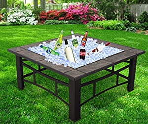 Raygar 3 In 1 Square Fire Pit Bbq Ice Pit Patio Heater Stove Brazier Metal Outdoor Garden Firepit With Ceramic Tiles Protective Cover Now Includes Ice Tray Fp44 -  by RayGar