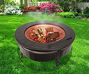 Raygar Fp34 Multifunctional 3 In 1 Outdoor Garden Round Fire Pit Bbq Ice Bucket Patio Heater Stove Brazier Metal Firepit Protective Cover -  by RayGar