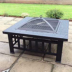Raygar Fp39 Multifunctional 3 In 1 Outdoor Garden Square Fire Pit Bbq Ice Bucket Patio Heater Stove Brazier Metal Firepit Protective Cover -  from RayGar