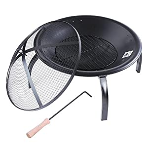 Reasejoy 2256cm Fire Pit Folding Leg Round Outdoor Garden Patio Heater Grill Camping Bowl Bbq With Charcoal Grill Poker Mesh Lid from ReaseJoy
