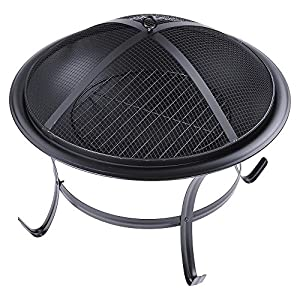 Reasejoy Fixed Leg Round Charcoal Fire Pit 56cm22 Patio Heater Grill Garden Stove Fireplace from ReaseJoy