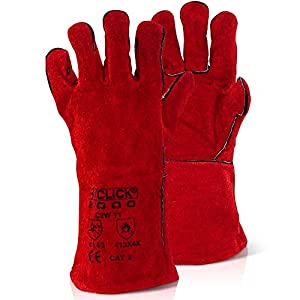 Red Gauntlet Leather Fire Gloves Fully Lined Hands Cuffs Heat Resistant Fires - Comes With The Chemical Hut Anti-bacterial Pen by The Chemical Hut