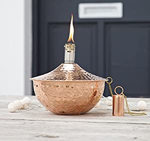Roma - Copper Garden Oil Lantern - Outdoor Lighting Oil Lamp - Wedding Gift Valentines - 18 X 18 X 1650 Cm by Za Za Homes