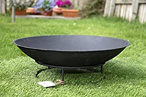 Round Outdoor Fire Basket Pit Bowl Cast Iron For Garden Patio Heating 56 X 25cm